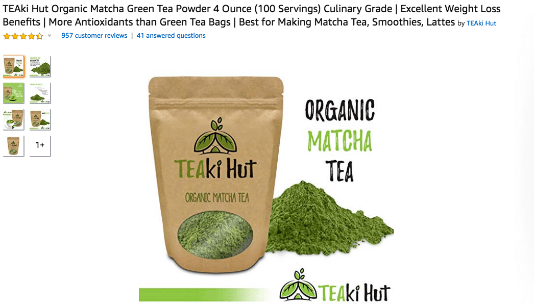 TEAki Hut Organic Matcha Green Tea Powder Amazon