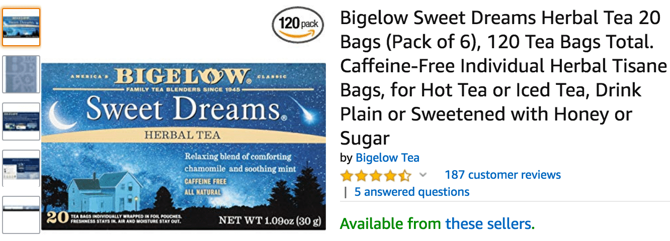 Bigelow Sweet Dreams Herbal Tea Amazon