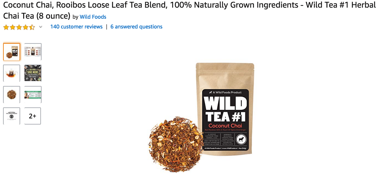 Coconut Chai Rooibos Loose Leaf Tea Blend Amazon