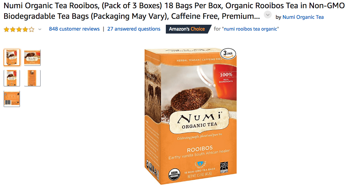Numi Organic Tea Rooibos Teabags Amazon