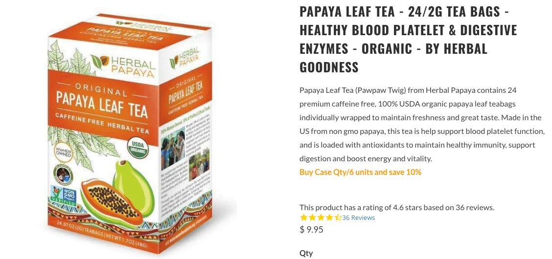 Papaya Leaf Tea Herbal Goodness