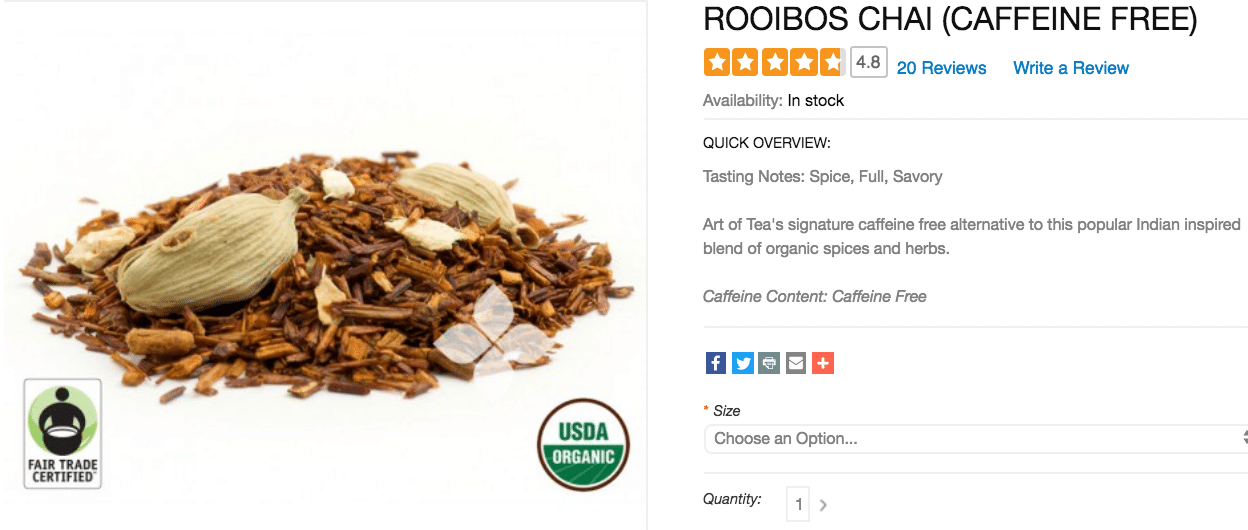 Rooibos Chai Caffeine Free Art-Of-Tea